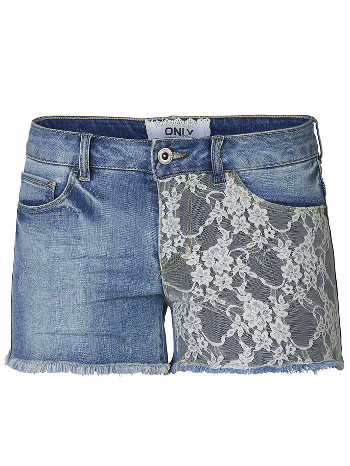 LACE DENIM SHORTS, Medium Blue Denim, large