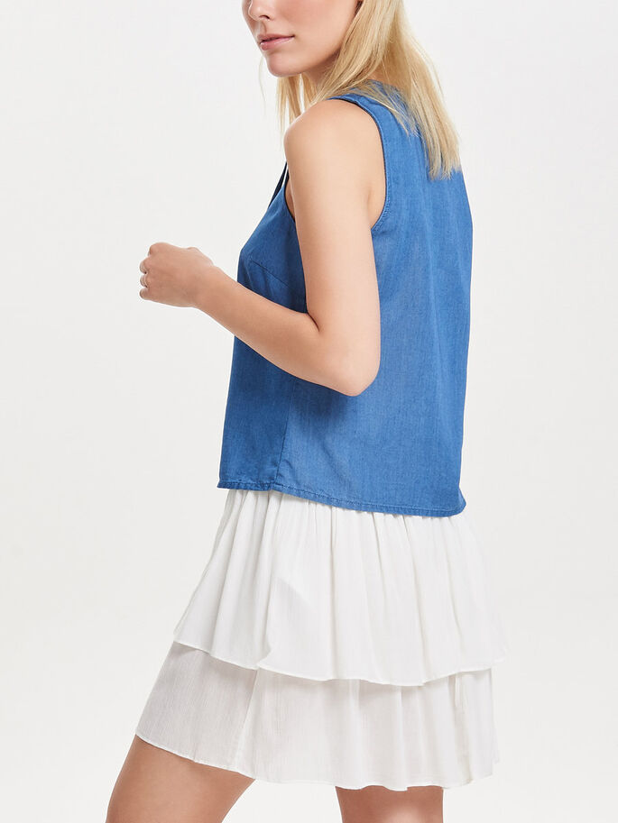 LACE-UP MOUWLOZE TOP, Dark Blue Denim, large