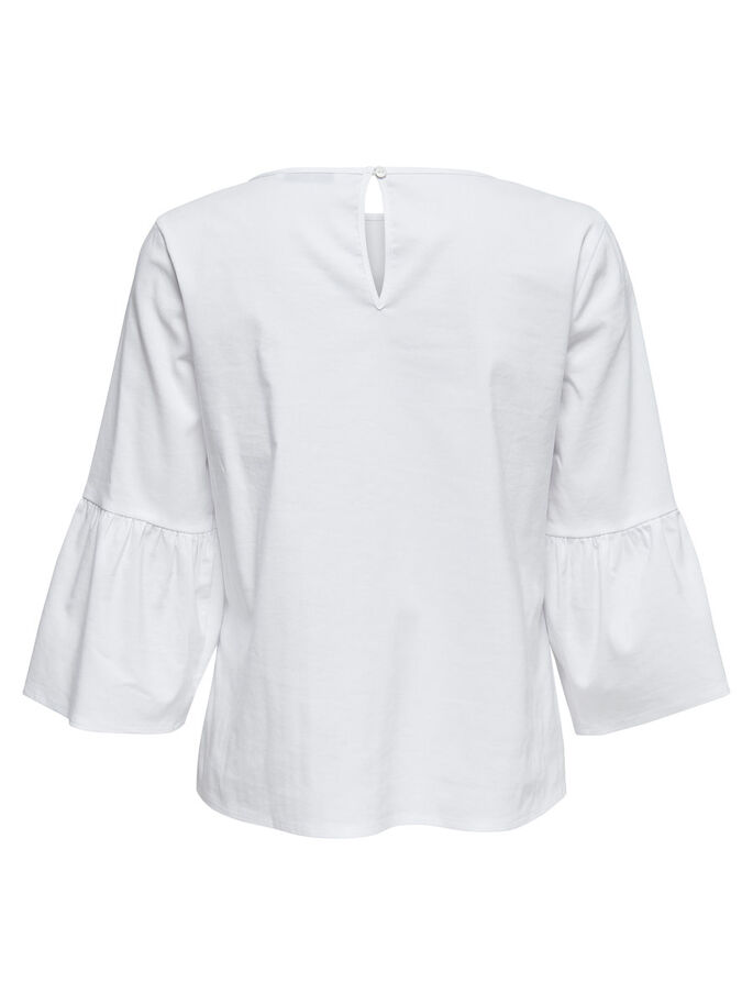PÉPLUM TOP MANCHES 3/4, White, large