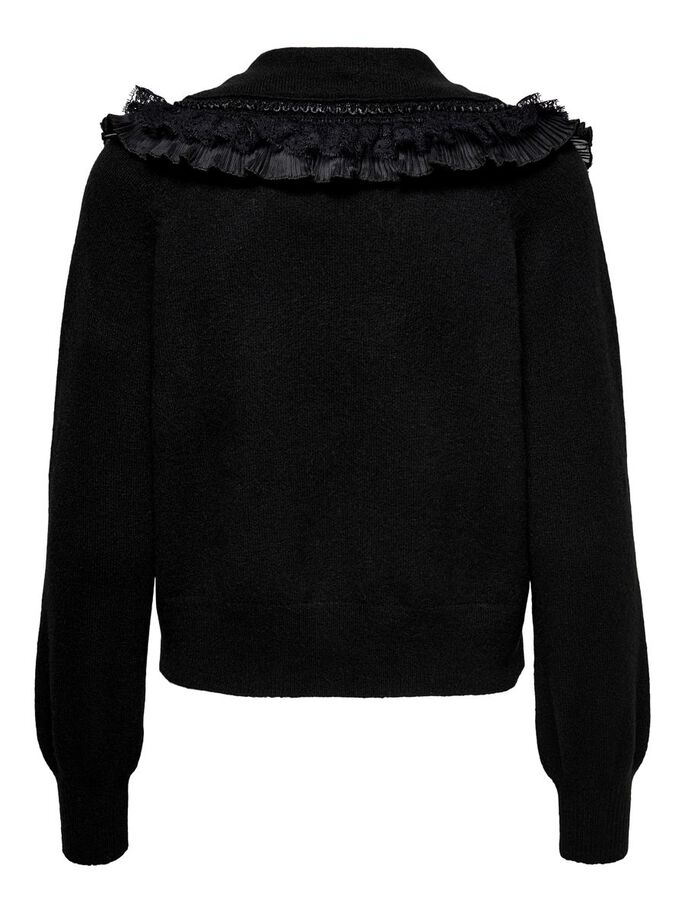 COLLAR DETAILED PULLOVER, Black, large
