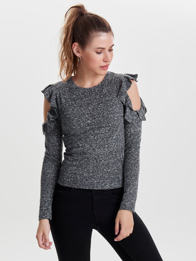 FRILL KNITTED PULLOVER, Dark Grey Melange, large