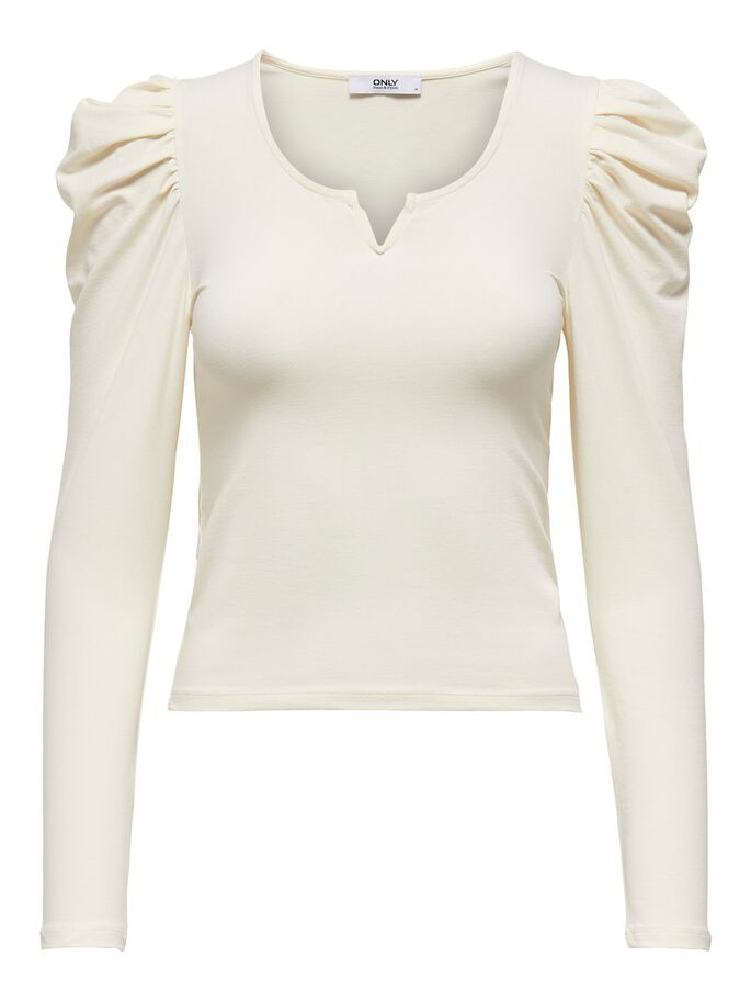 PUFF SLEEVE LONG SLEEVED TOP, Cloud Dancer, large
