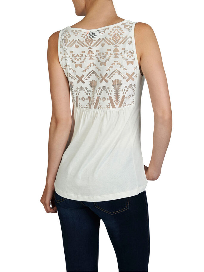 LACE BACK SLEEVELESS TOP, Cloud Dancer, large