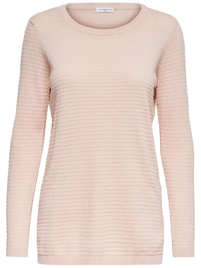 EINFARBIGES STRICKPULLOVER, Peach Whip, large