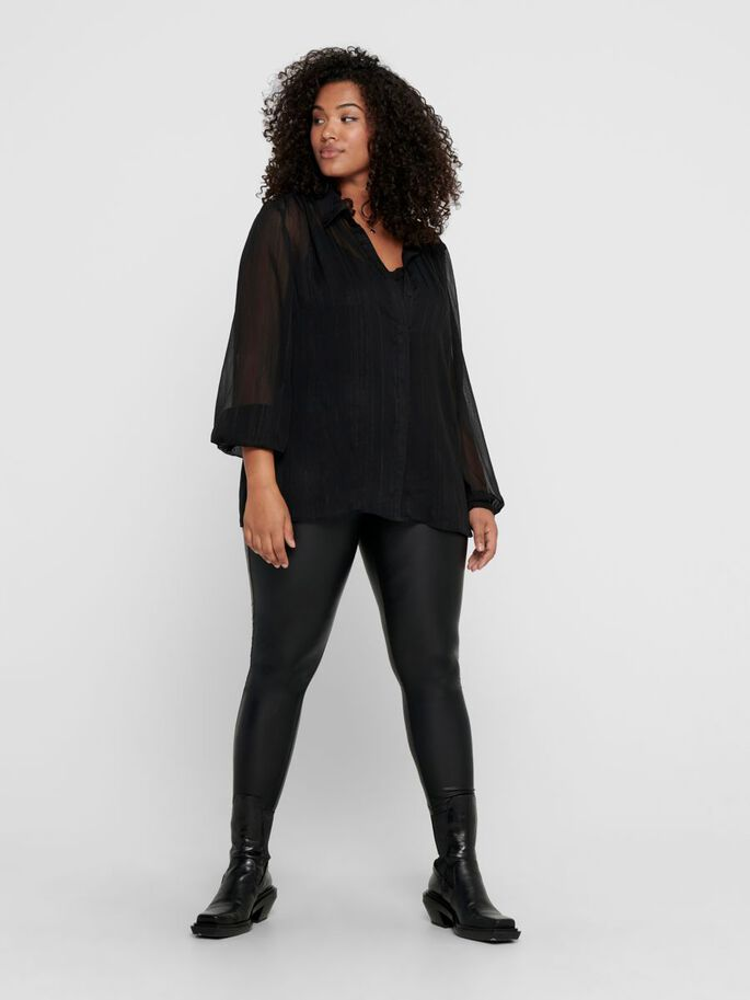 CURVY LONG SLEEVED SHIRT, Black, large