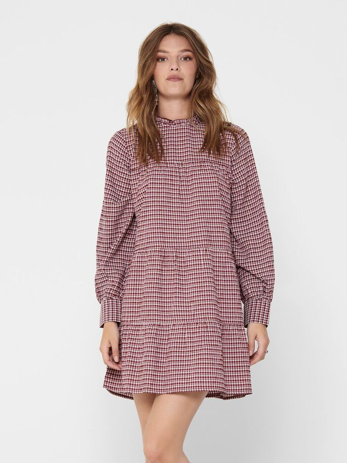 CHECKED FRILL DRESS, Pomegranate, large