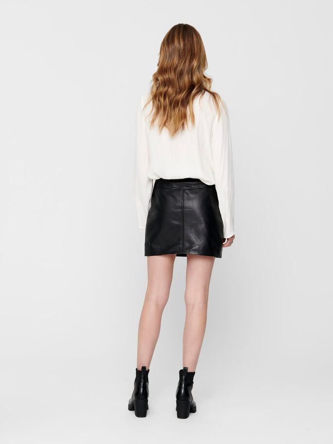 LEATHER SKIRT, Black, large