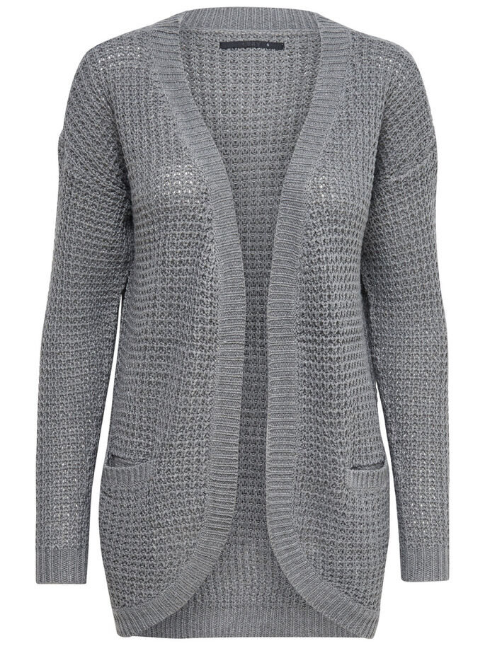 LONG CARDIGAN EN MAILLE, Medium Grey Melange, large