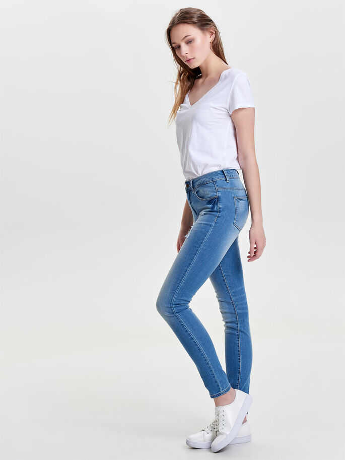 CARMEN NORMALHÖGA SKINNY FIT-JEANS, Medium Blue Denim, large