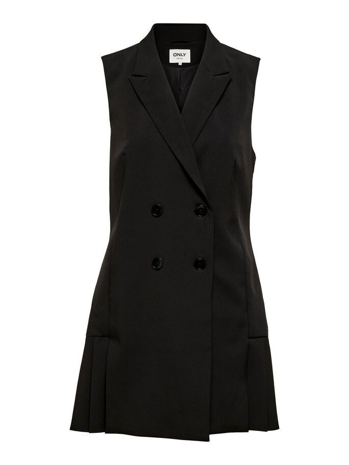 DOUBLE BREASTED SLEEVELESS DRESS, Black, large
