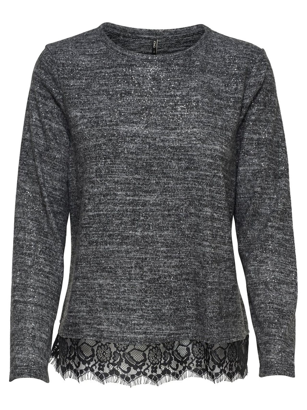 ONLY Lace Detail Long Sleeved Top Women Grey