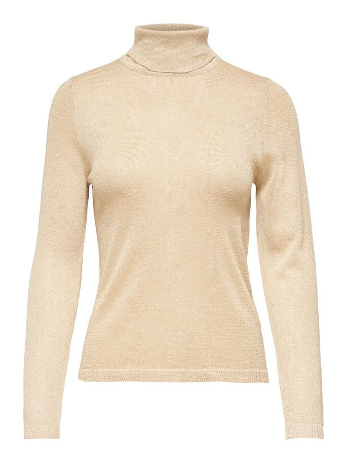 STRIPED KNITTED PULLOVER, Frosted Almond, large