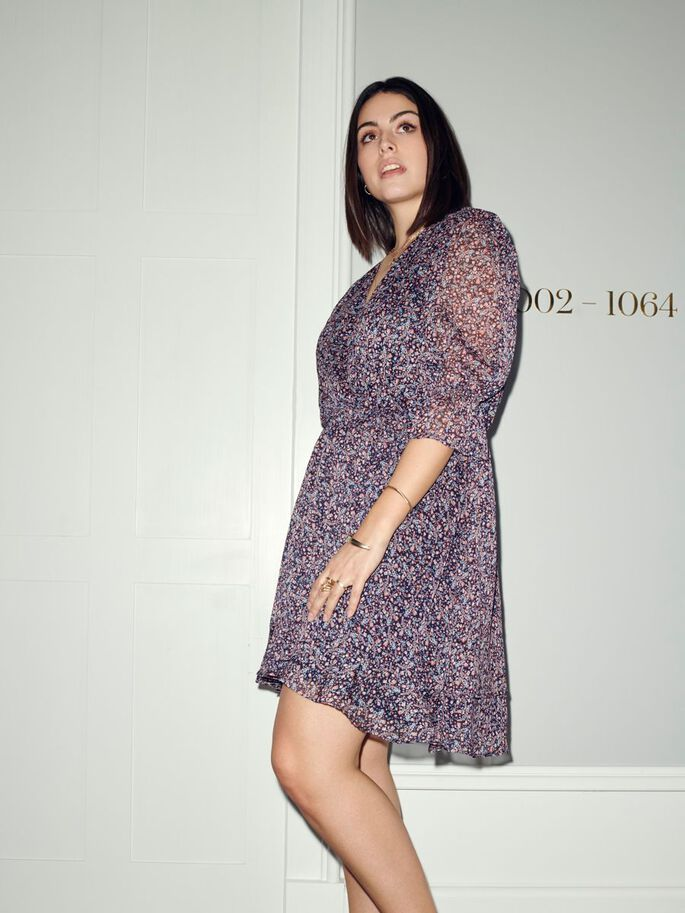 CURVY PRINTED DRESS, Ombre Blue, large
