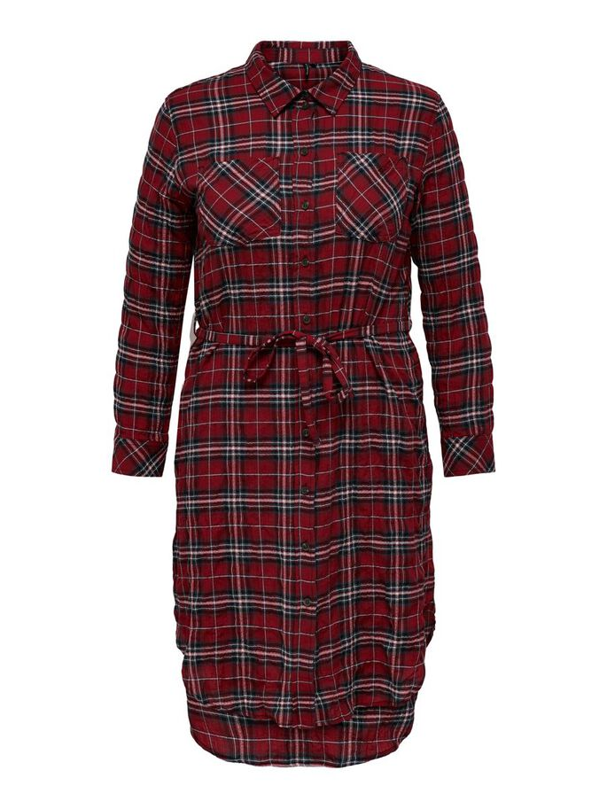 CURVY CHECKED DRESS, Red Ochre, large