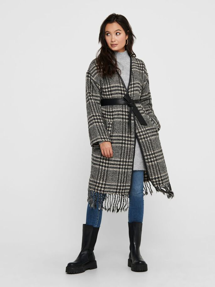 CHECK FRILL COAT, Cloud Dancer, large