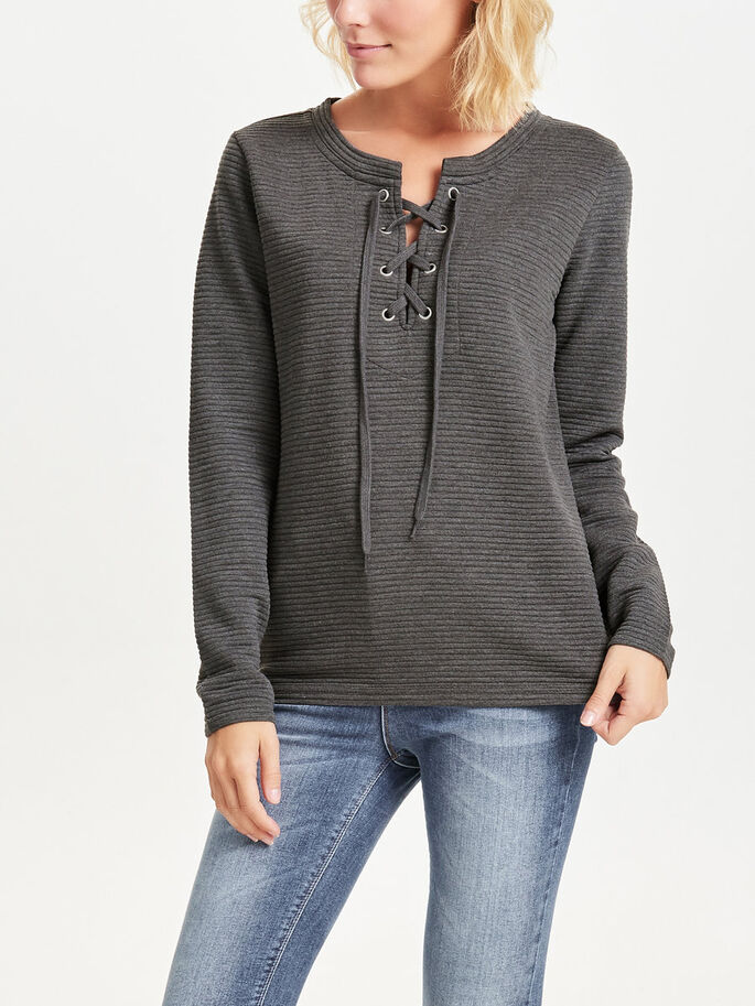 LACE UP LONG SLEEVED TOP, Dark Grey Melange, large
