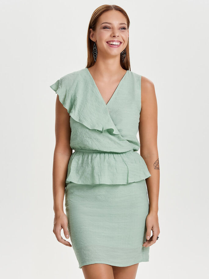 FRILL SLEEVELESS DRESS, Deep Lichen Green, large