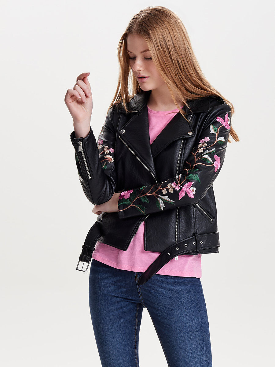 Only Embroidery Faux Leather Jacket Women black LPWuh