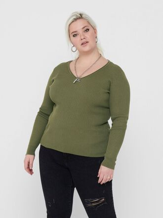 CURVY LONG SLEEVED KNITTED PULLOVER