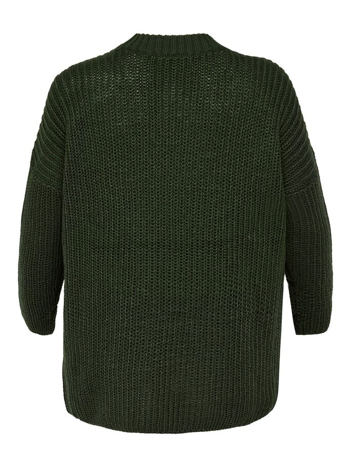 CURVY KNITTED PULLOVER, Forest Night, large
