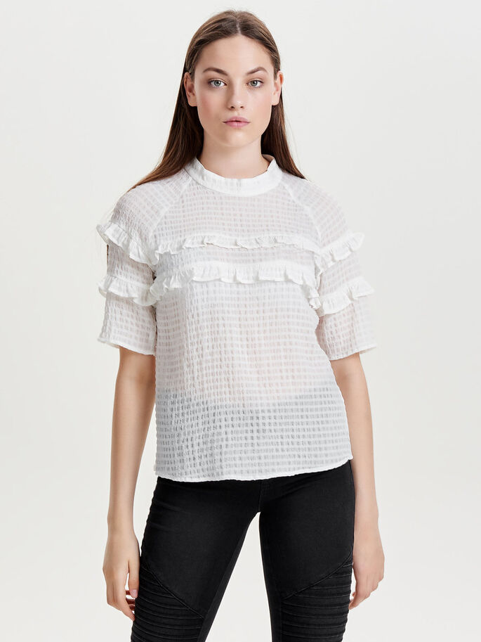 FRILL 2/4 SLEEVED BLOUSE, Cloud Dancer, large