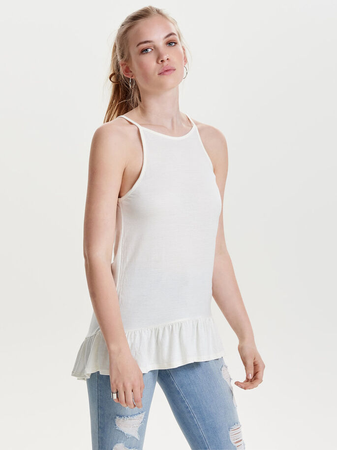 COULEUR UNIE TOP SANS MANCHES, Cloud Dancer, large
