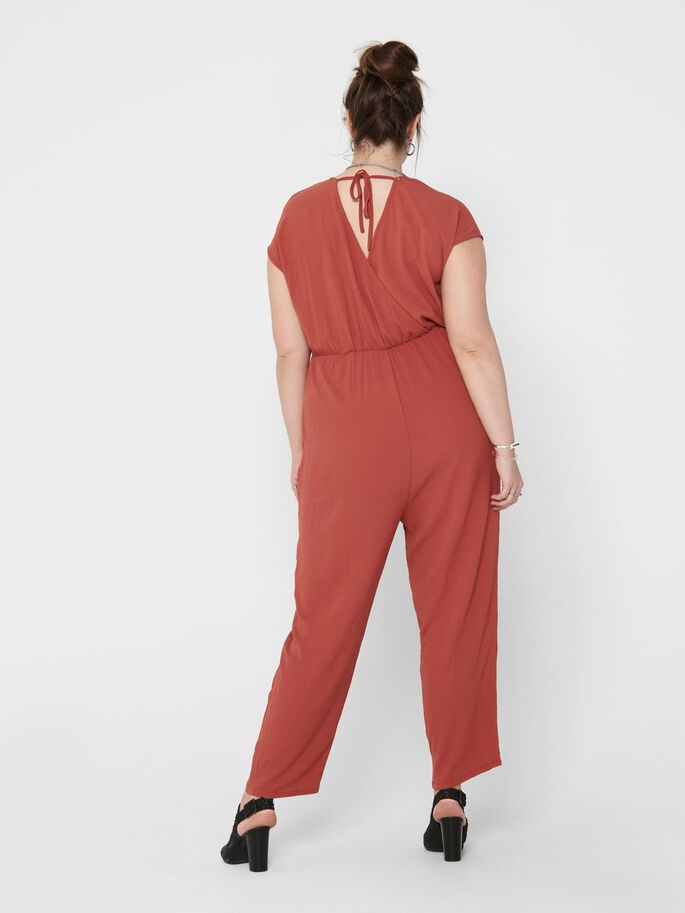 CURVY SOLID COLORED JUMPSUIT, Hot Sauce, large