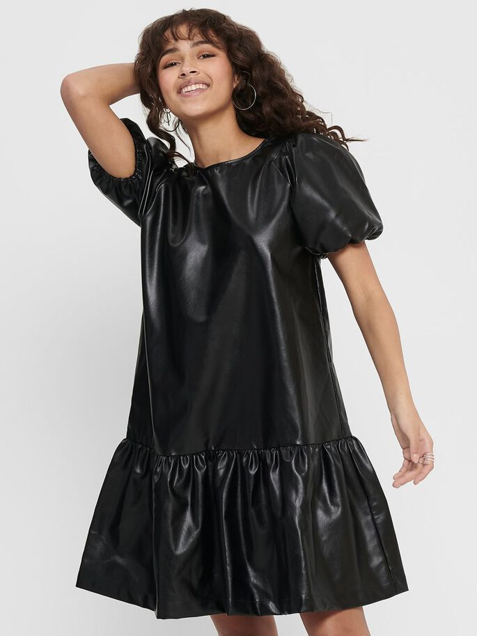 FAUX LEATHER PUFF SLEEVE DRESS, Black, large