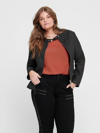 CURVY FAUX LEATHER JACKET