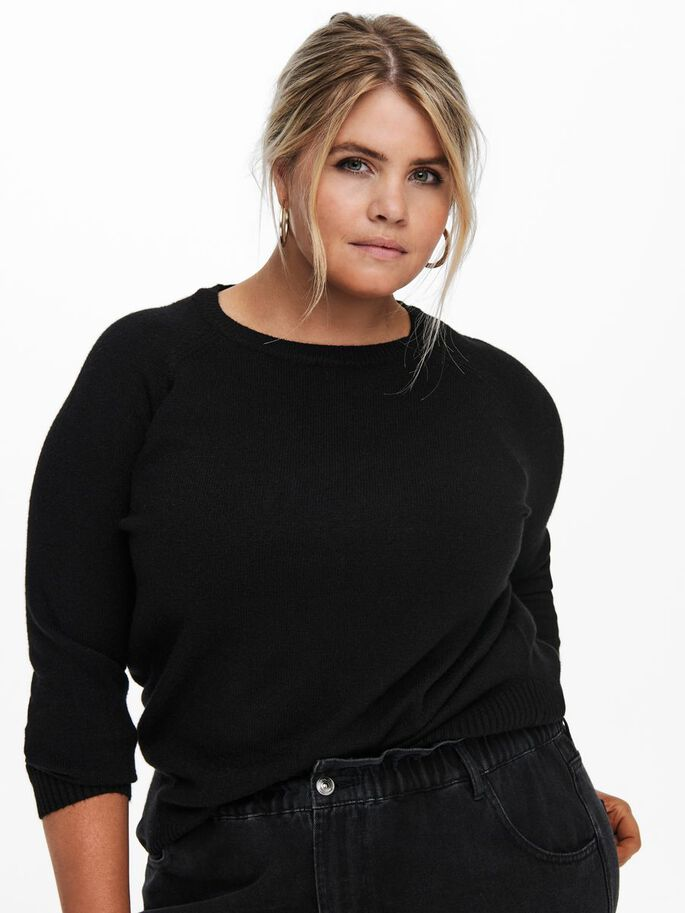 CURVY SOLID COLORED KNITTED PULLOVER, Black, large