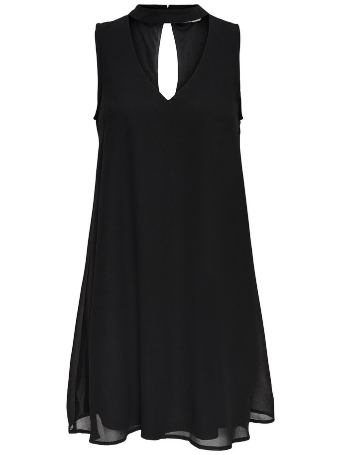 CHOKER SLEEVELESS DRESS, Black, large