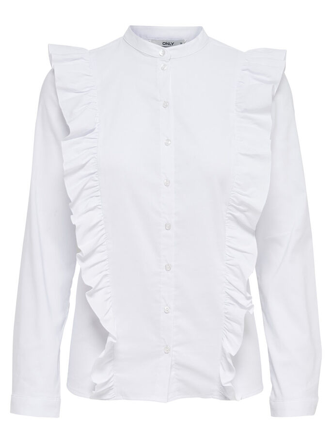FRILL LONG SLEEVED SHIRT, White, large