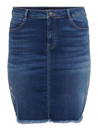 CURVY DESTROY DENIM SKIRT