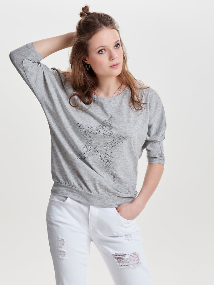 LOOSE 3/4 SLEEVED TOP, Light Grey Melange, large