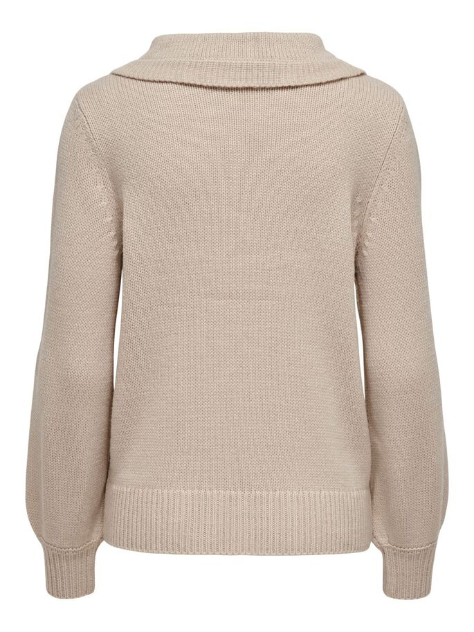 MAMA COLLAR DETAIL KNITTED PULLOVER, Pumice Stone, large