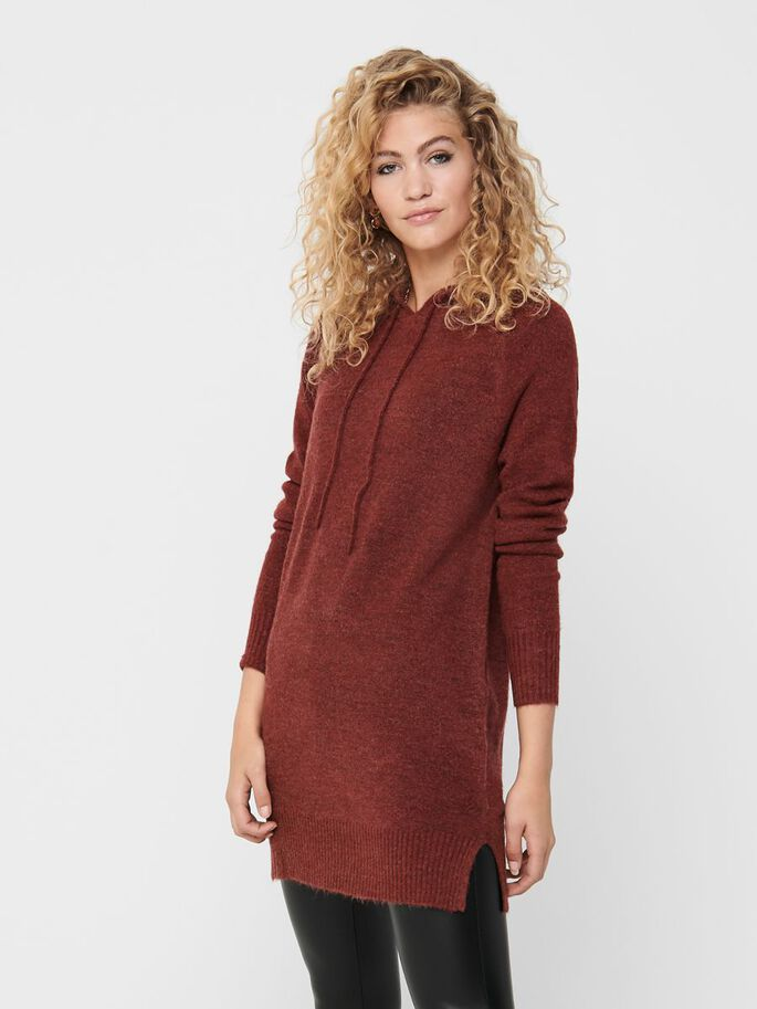 HOODIE KNITTED DRESS, Russet Brown, large