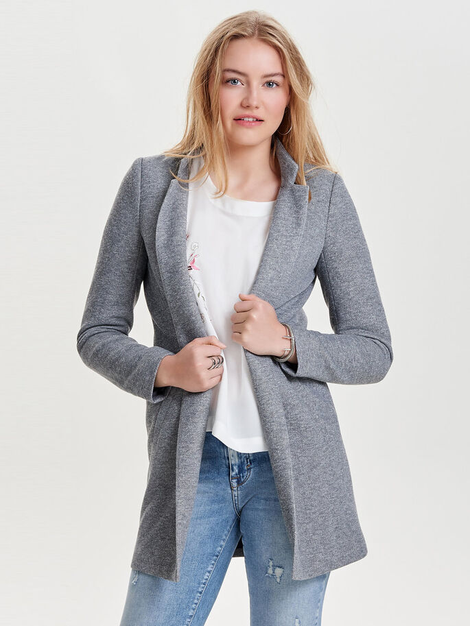 EFFEN COATIGAN, Light Grey Melange, large