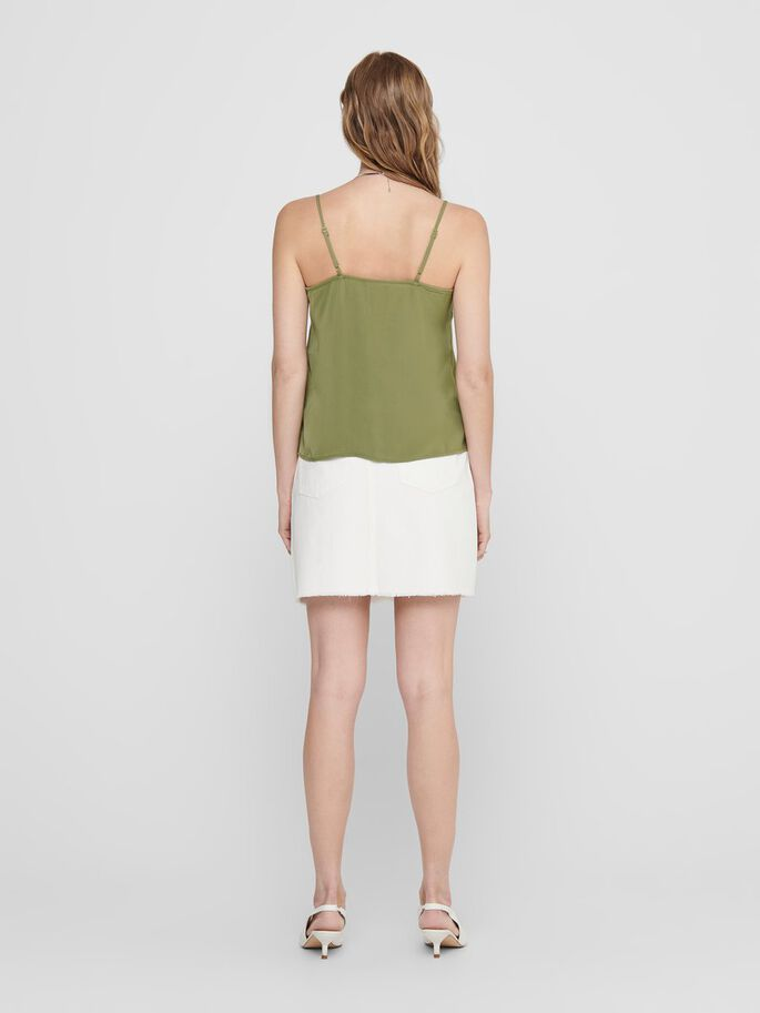 BUTTON-UP SLEEVELESS TOP, Martini Olive, large