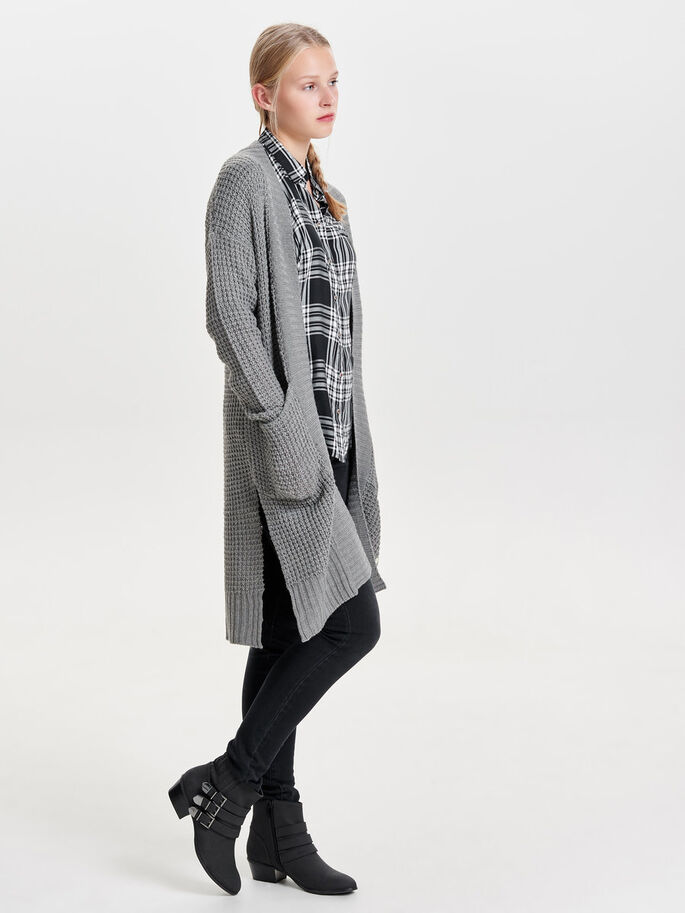LANG STRIKKET CARDIGAN, Medium Grey Melange, large