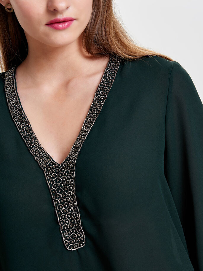 DETAILED 3/4 SLEEVED BLOUSE, Scarab, large