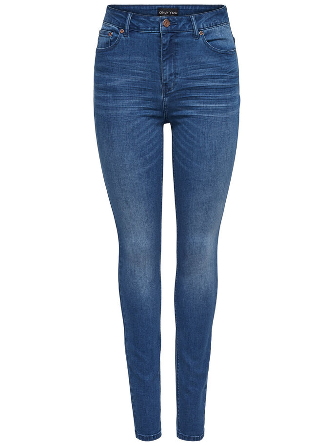 PEARL HIGH WAIST SKINNY FIT JEANS, Medium Blue Denim, large