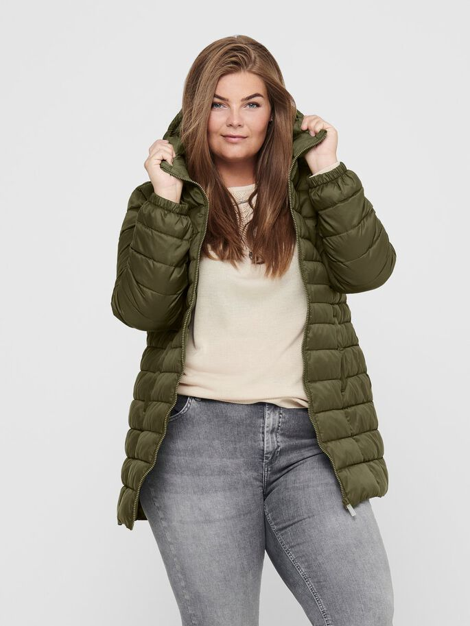 CURVY LONG QUILTED JACKET, Beech, large