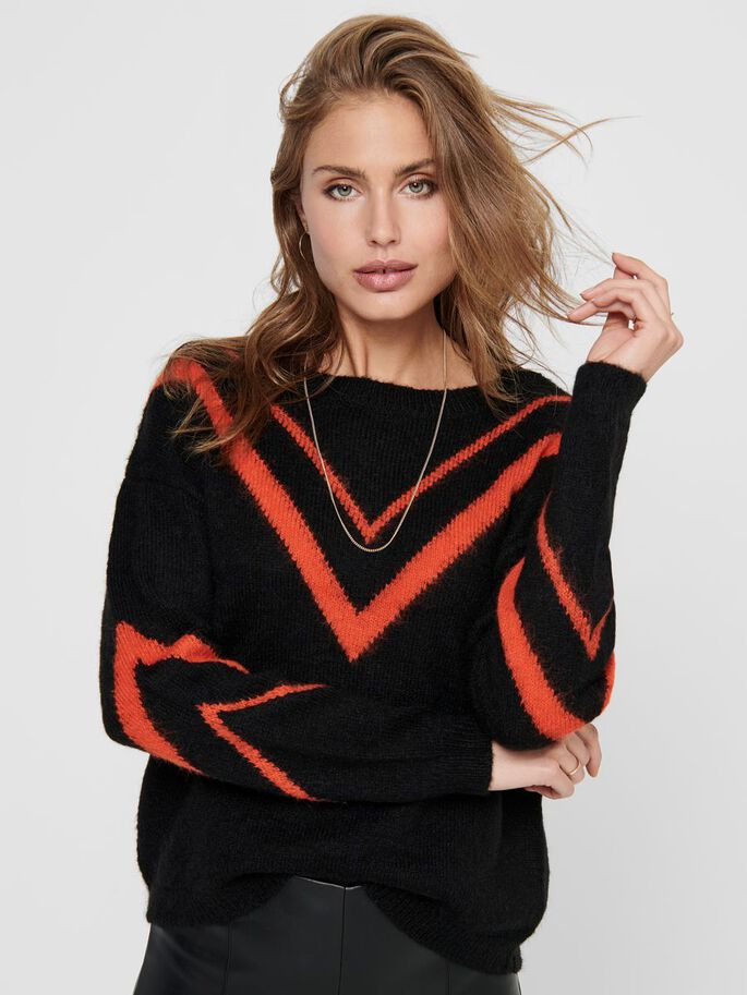 CONTRAST COLORED KNITTED PULLOVER, Black, large