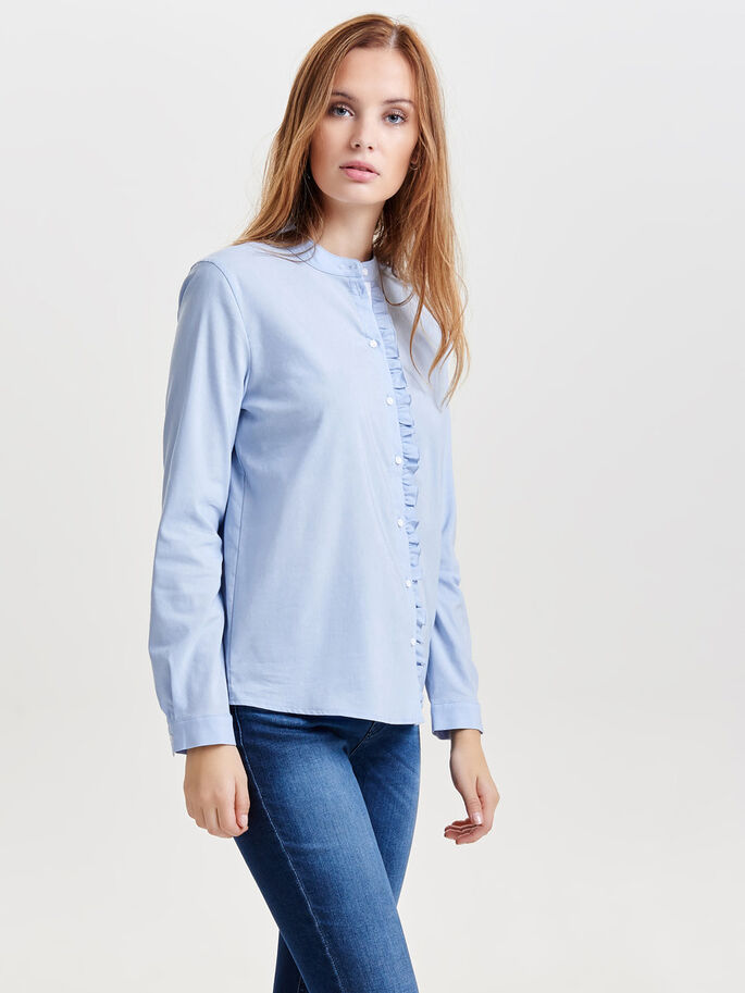 FRILL LONG SLEEVED SHIRT, Skyway, large