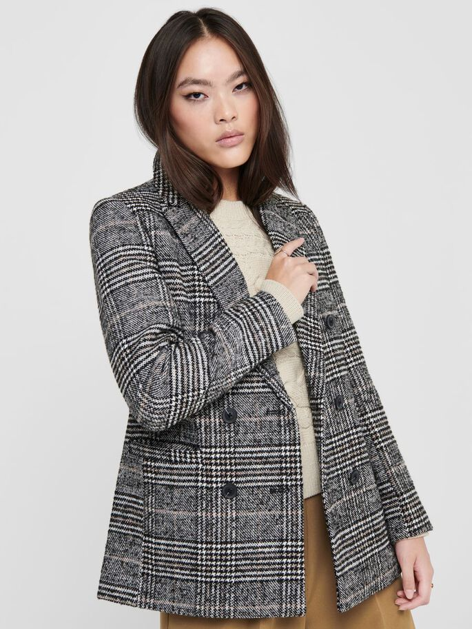 CHECKED WOOL BLAZER, Cloud Dancer, large