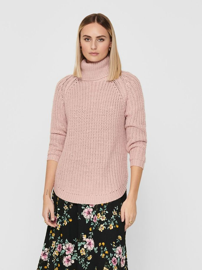 ROLL NECK KNITTED PULLOVER, Rose Smoke, large