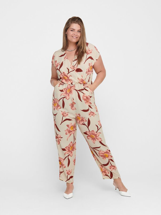 CURVY SLEEVELESS JUMPSUIT, Oatmeal, large