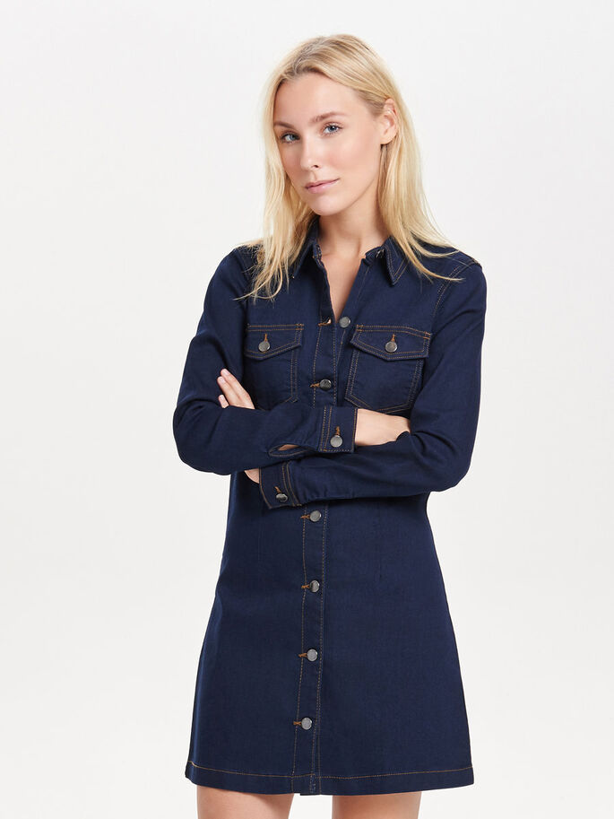 MANCHES LONGUES ROBE EN JEAN, Dark Blue Denim, large