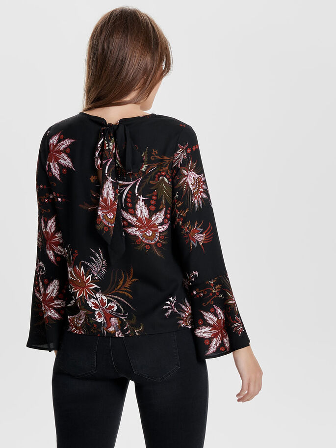 FLOWERED LONG SLEEVED BLOUSE, Black, large