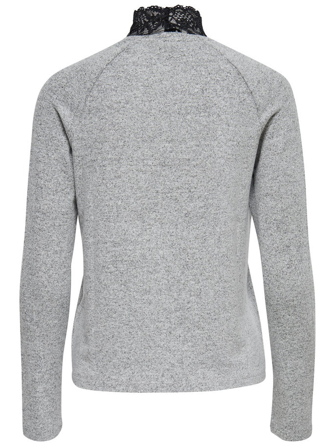 STEHKRAGEN- STRICKPULLOVER, Light Grey Melange, large